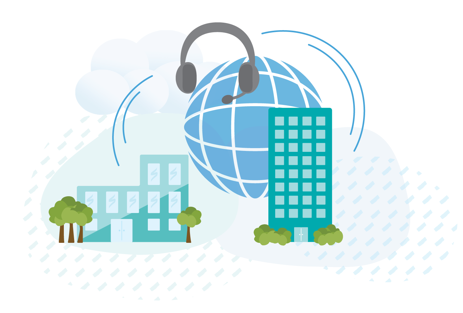 Two office buildings, a cloud, a sphere, and a headset