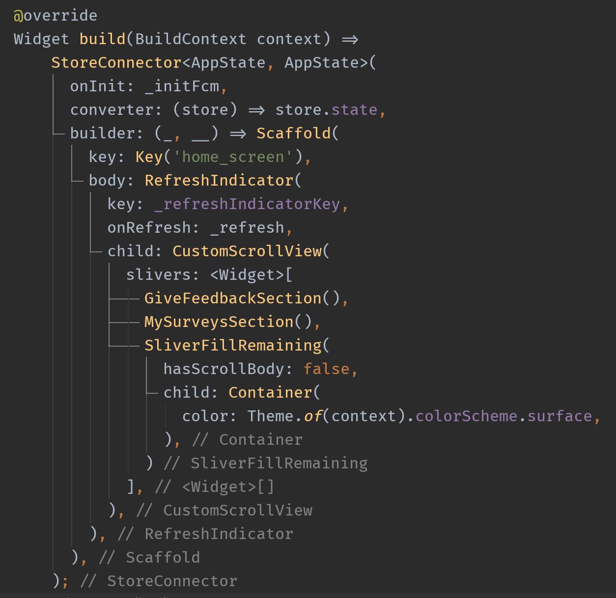 home screen code
