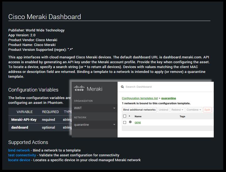 Cisco Meraki app for Phantom Cyber