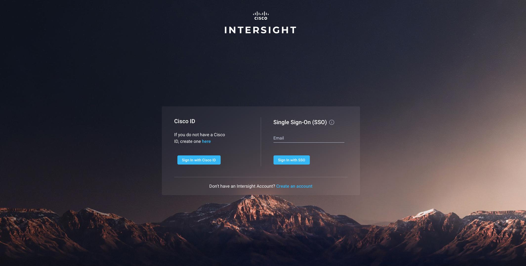 Cisco Intersight log-on page