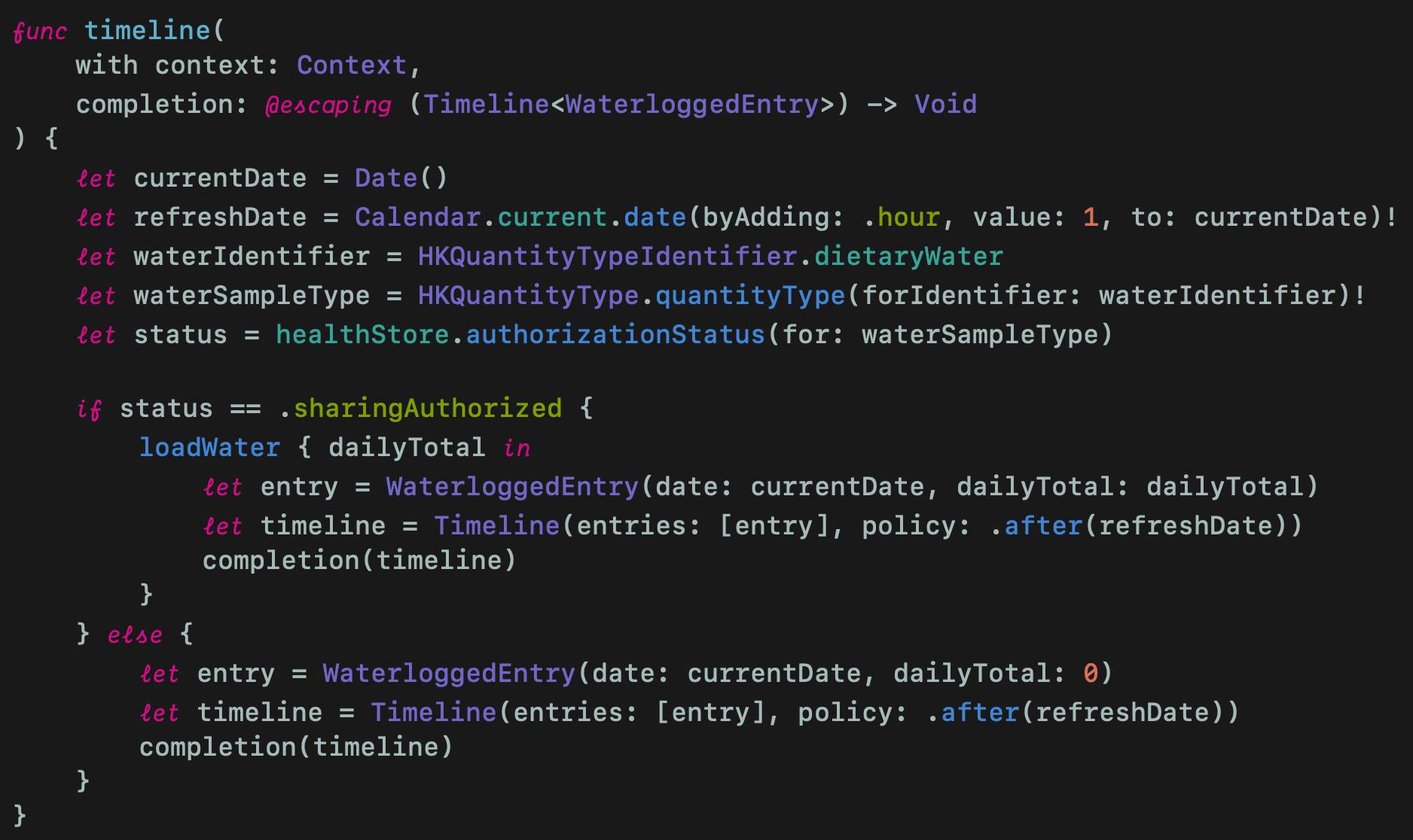 Timeline method inside Provider struct
