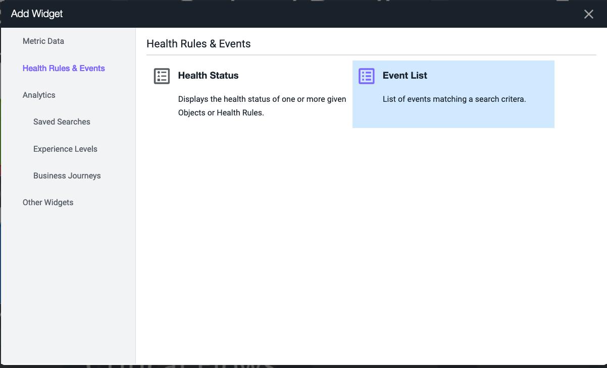 Add Event List Widget