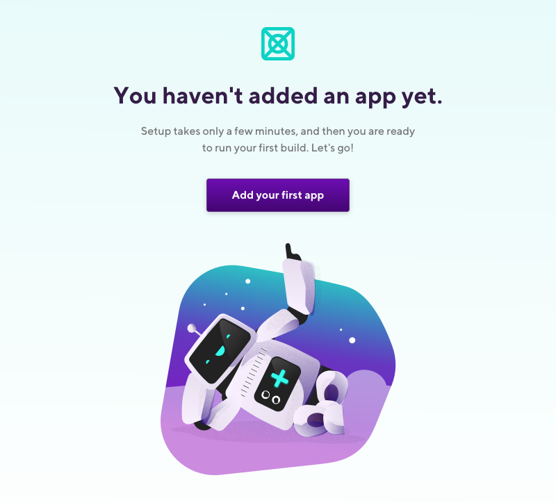 Add your first app button