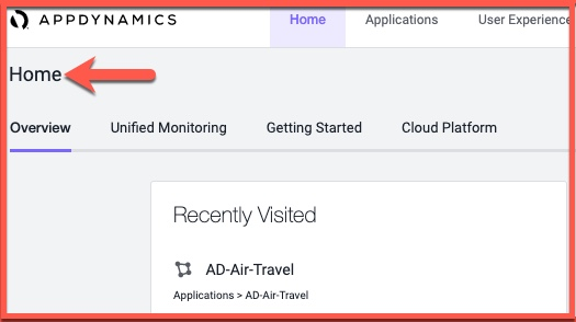 AppDynamics home screen