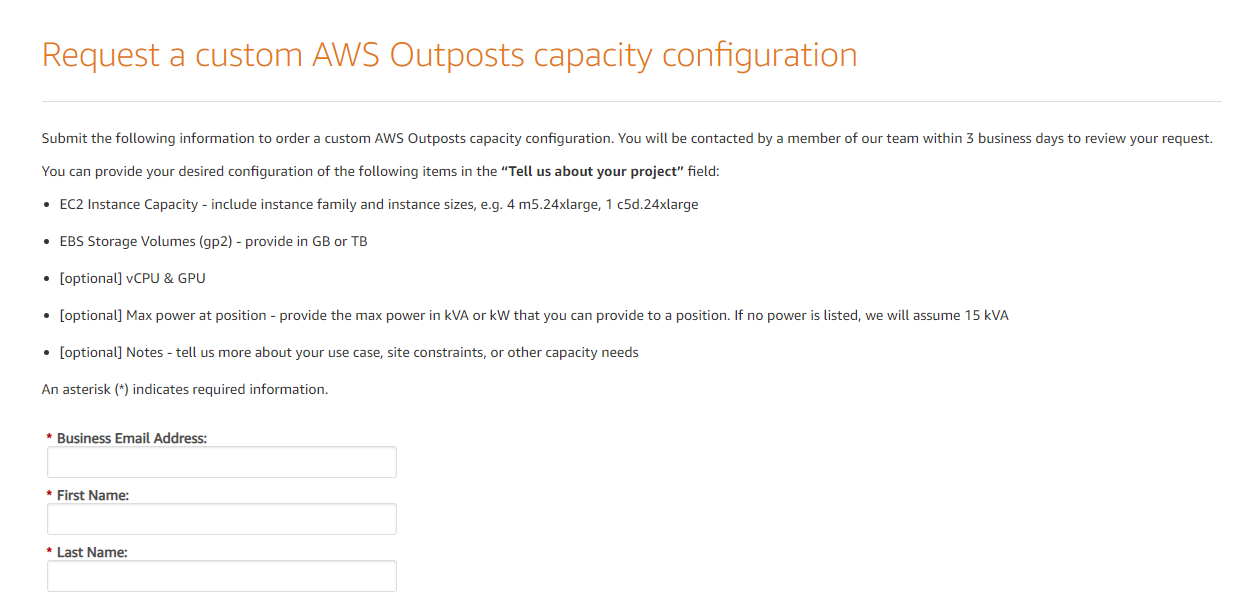 Request a custom AWS Outposts configuration